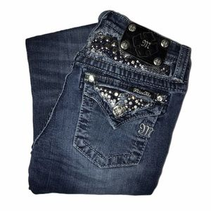Miss Me Distressed Embellished Bootcut Jeans 12 29